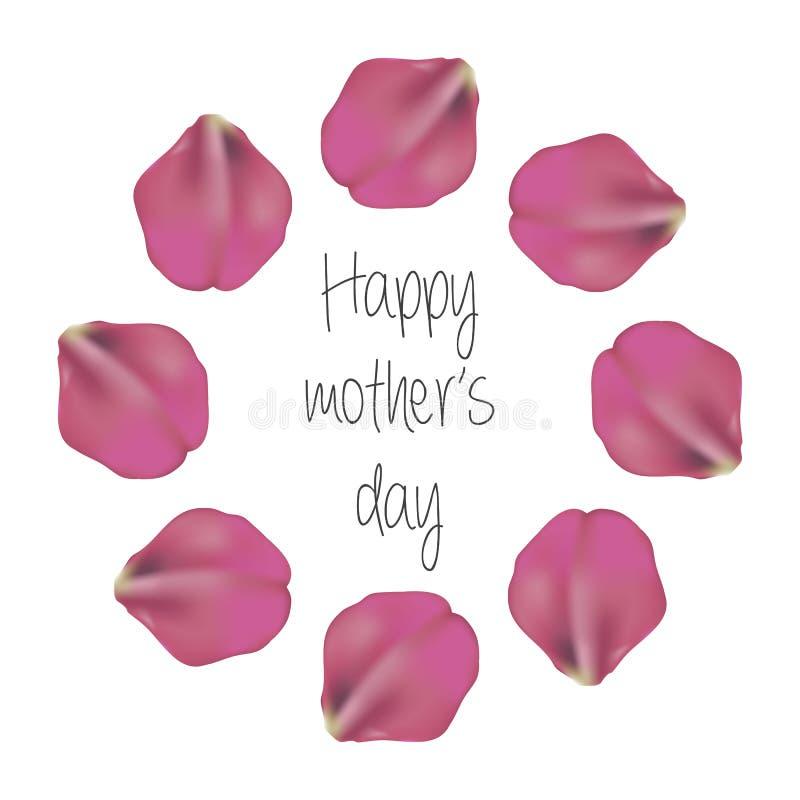 Postal feliz del día del ` s de la madre tarjeta o plantilla festiva de la bandera con las letras elegantes, pétalos color de ros libre illustration