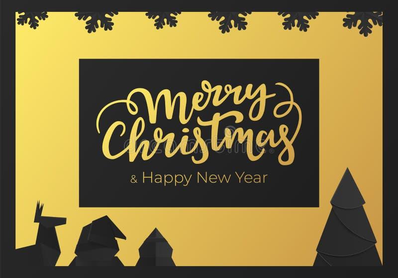 Postal festiva del invierno con las decoraciones de la Navidad Tarjeta de felicitación de la Feliz Año Nuevo con la hoja de oro y stock de ilustración