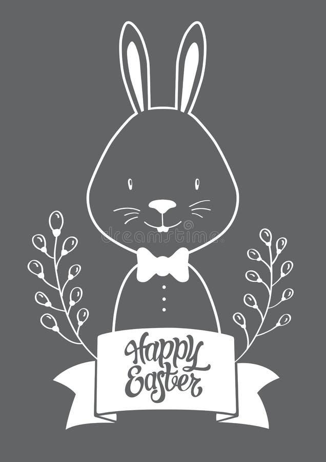 Postal gráfica blanca de Pascua del conejito fotos de archivo