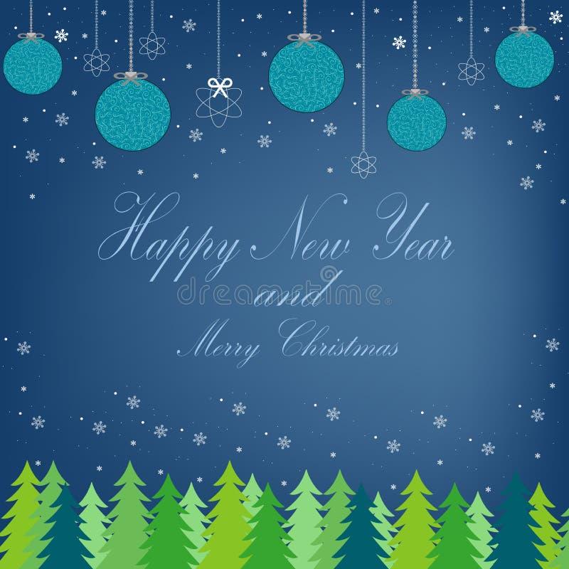 Postal hermosa con vistas al bosque con el árbol de navidad stock de ilustración