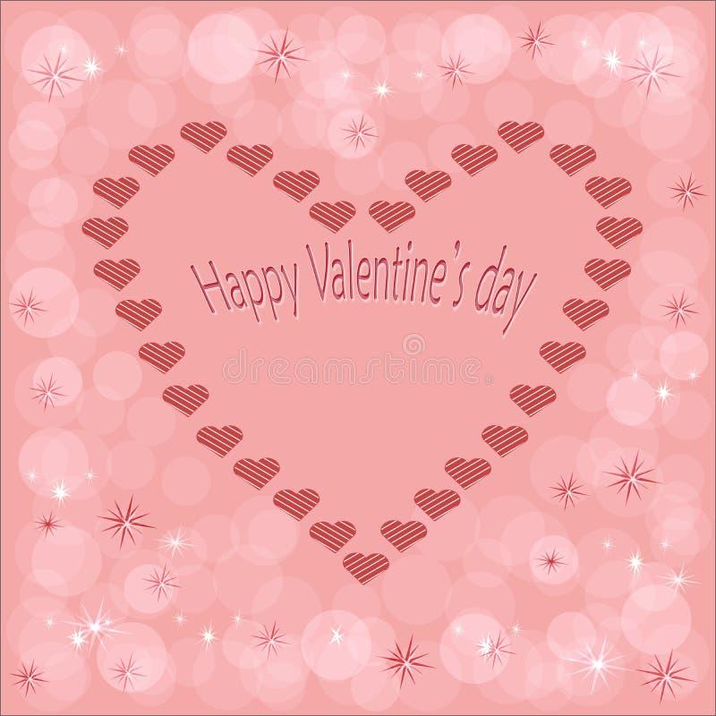 Postal hermosa del corazón con los corazones en un fondo rosado hermoso del color con la inscripción de un día feliz del ` s de l ilustración del vector