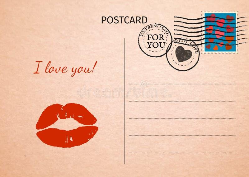 postal Labios rojos y palabras te amo Illustratio de la tarjeta postal stock de ilustración