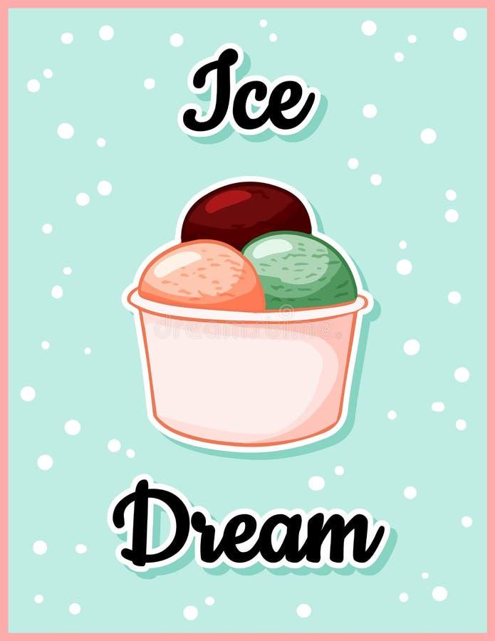 Postal linda de la historieta del tiempo ideal del hielo del helado Cita creativa, rom?ntica, inspirada Aviador de moda del veran libre illustration