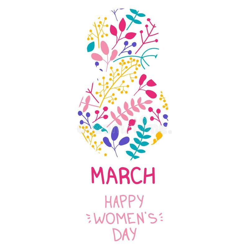 Postal a mano para octavo de marzo Enhorabuena en el d?a internacional del ` s de las mujeres libre illustration