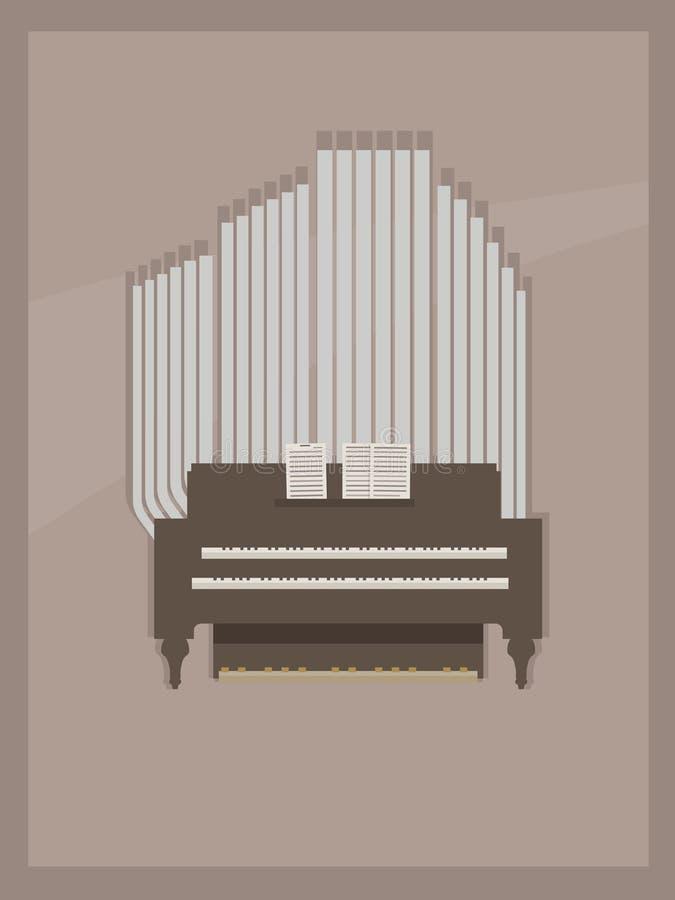 Postal marrón clara con marrón del pequeño órgano del sitio y gris de madera con dos teclados para las manos y las páginas con la ilustración del vector
