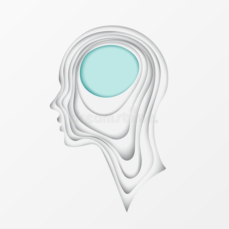 Postal moderna con perfil cortado acodado del ser humano del papel coloreado ilustración del vector