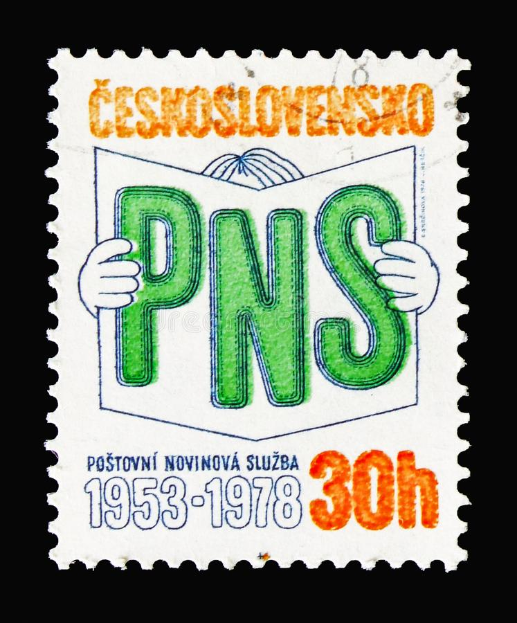 Postal newspaper service, Anniversaries of Newspaper Service, TV. MOSCOW, RUSSIA - AUGUST 18, 2018: A stamp printed in Czechoslovakia shows Postal newspaper stock image