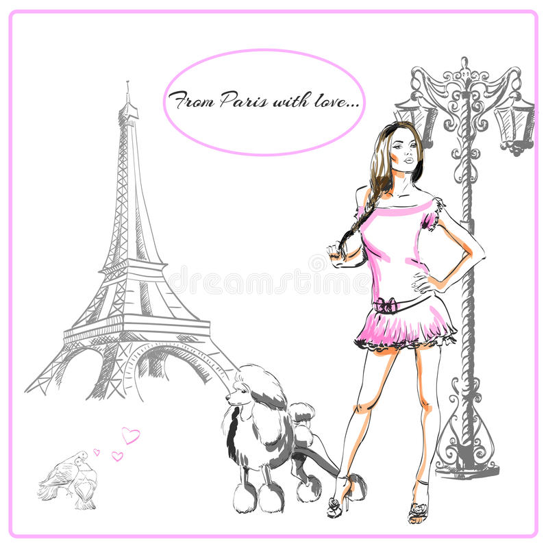 Postal París stock de ilustración