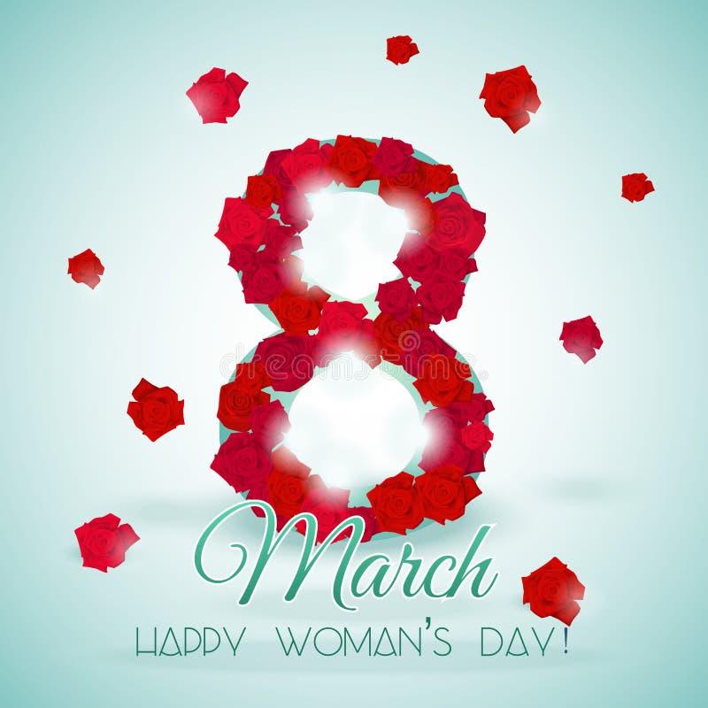 Postal para el día de la mujer internacional del día de fiesta con las rosas stock de ilustración