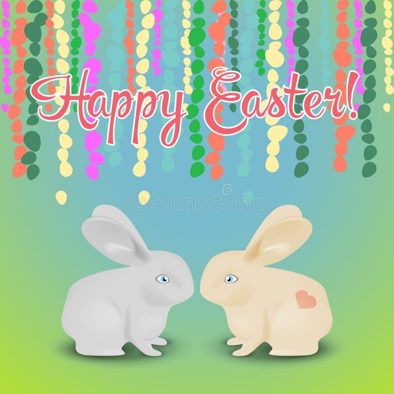 Postal para Pascua con la guirnalda hecha de huevos coloridos y de dos r ilustración del vector