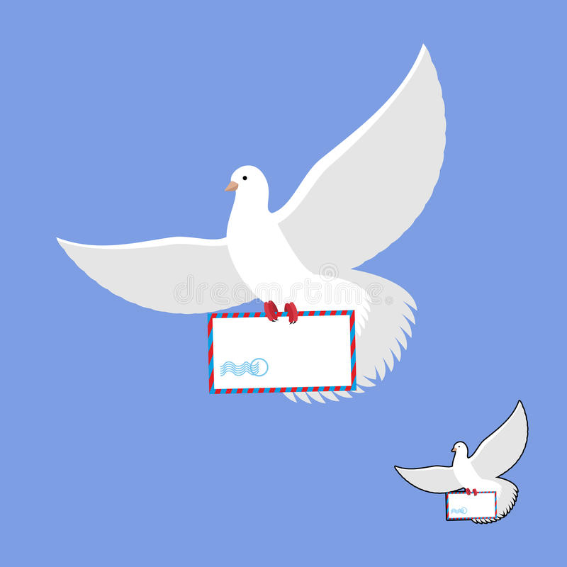 Postal pigeon and mailing envelope. White Dove carries and mail. Flying bird in its message stock illustration