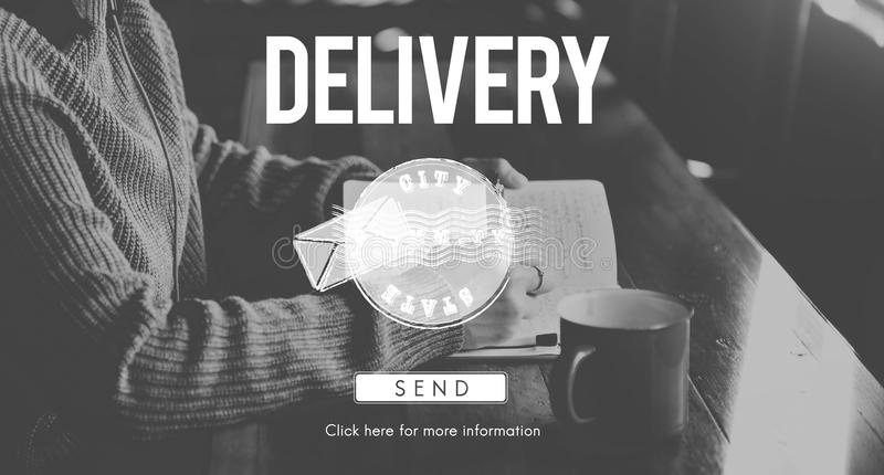 Postal Post Delivery Stamp Graphic Concept royalty free illustration