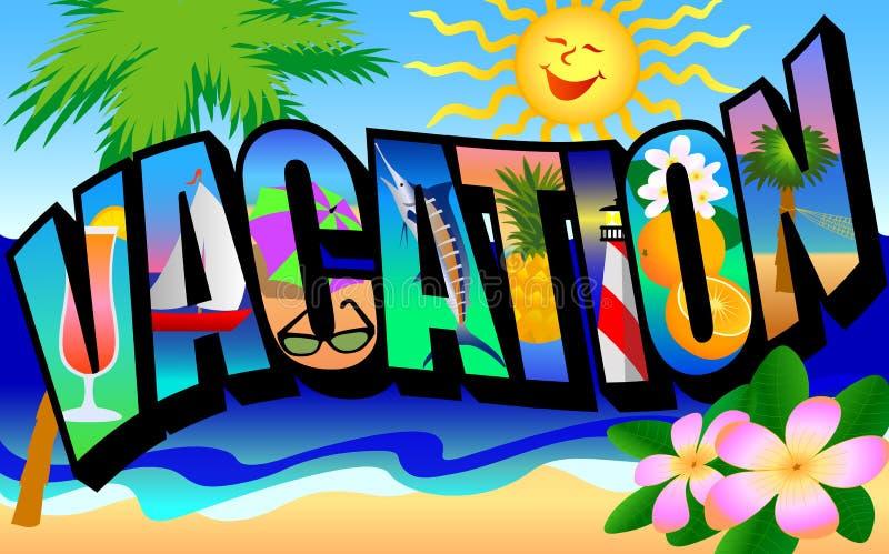 Postal retra de las vacaciones stock de ilustración
