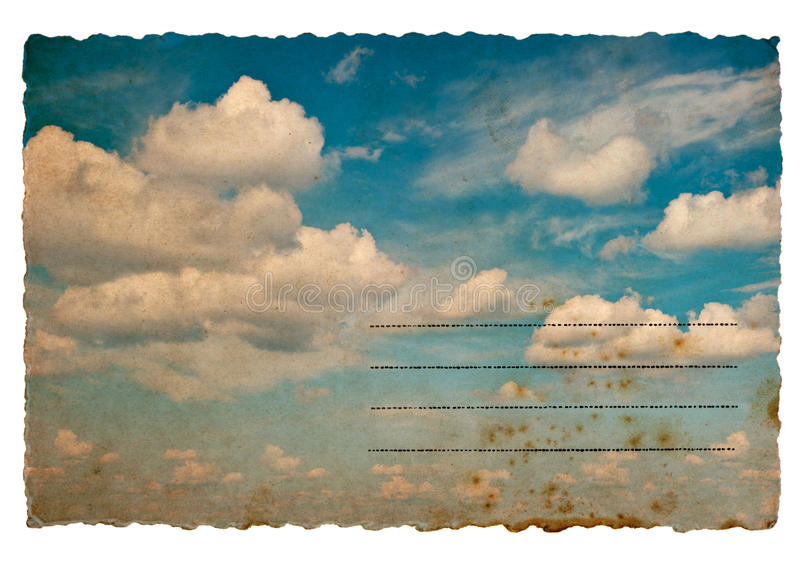 Postal retra del estilo con el fondo nublado del cielo azul imágenes de archivo libres de regalías