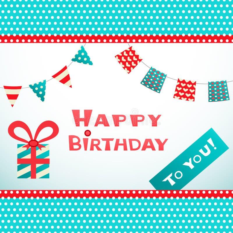 Postal retra del feliz cumpleaños con el punto texturizado stock de ilustración