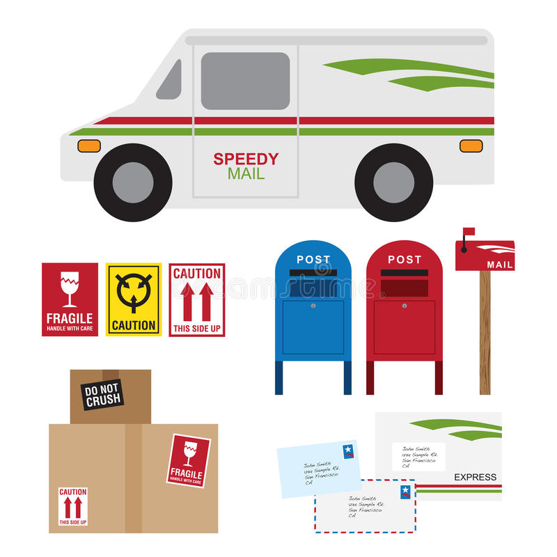 Postal Service. Vector illustration of postal service items including postal car, post box, mail box, shipping boxes and letters royalty free illustration