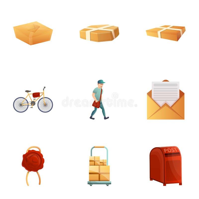 Postal service icon set, cartoon style vector illustration
