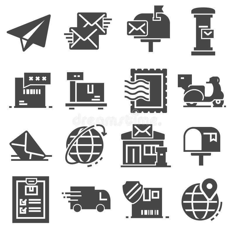 Postal service set of gray icons. Vector. Postal service set of gray icons on white background stock illustration