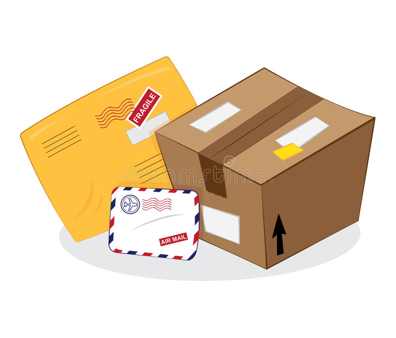 Postal services: package, yellow envelope, letter envelope. A cartoon representing a set of postal products: a brown carton package, a yellow sending envelope stock illustration