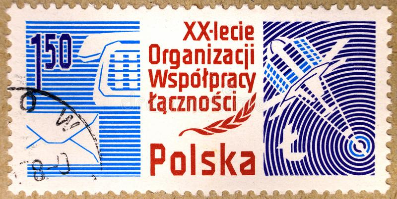 Postal stamp of Poland, dedicated to the 20th anniversary of the Organization of Ministers of Posts stock photography