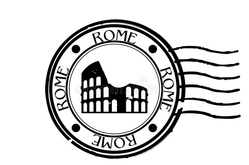 Postal stamp symbols rome - iltaly with the Colosseum on white background royalty free stock image