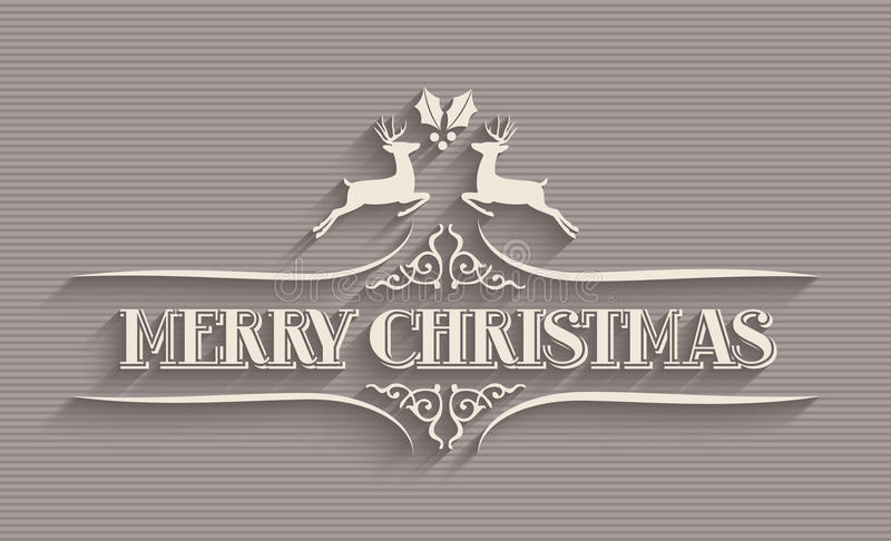 Postal tipográfica de la Feliz Navidad ilustración del vector