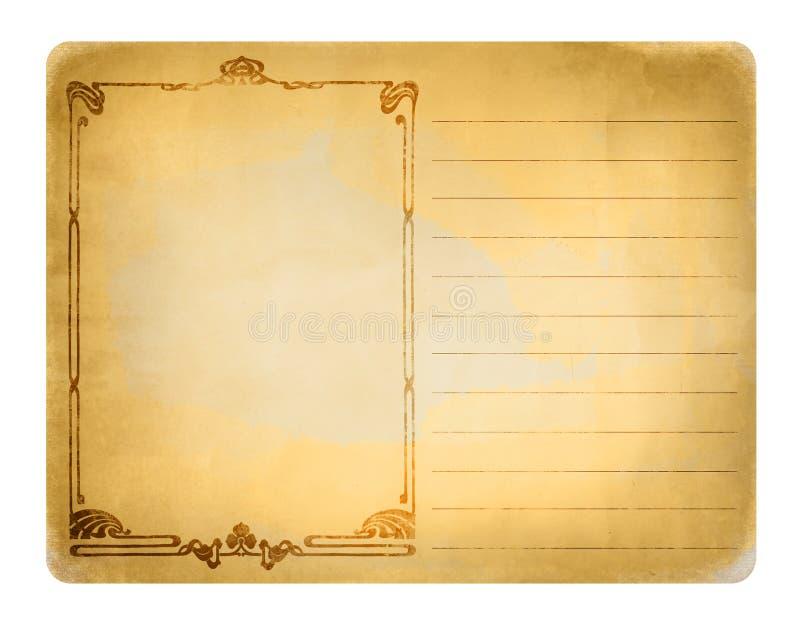 Postal vieja con los ornamentos stock de ilustración