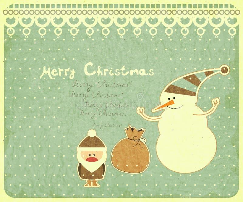 Postal vieja de la Navidad con Papá Noel libre illustration