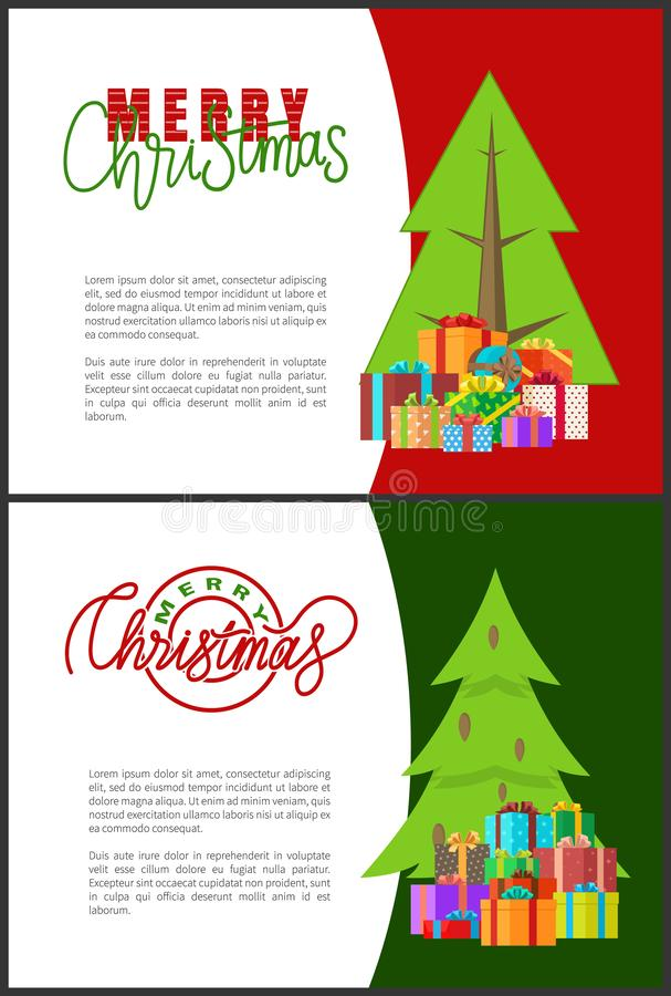 Postales de la Feliz Navidad con los árboles verdes de Navidad libre illustration