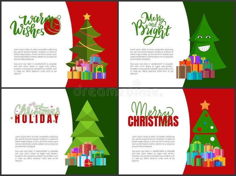 Postales de la Feliz Navidad con los árboles verdes de Navidad stock de ilustración