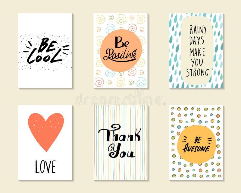 Postales dibujadas mano linda del garabato, tarjetas, cubiertas ilustración del vector