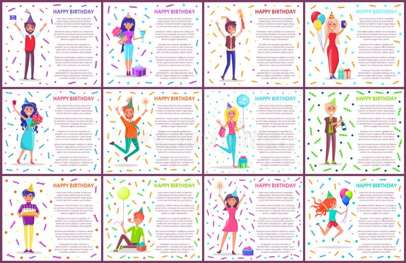 Postales, hombres y mujeres del feliz cumpleaños con los regalos ilustración del vector