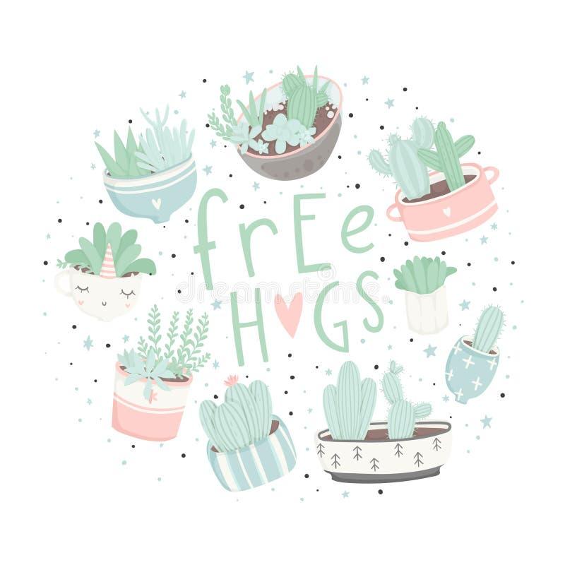 Postales lindas de la historieta con los succulents y los cactus stock de ilustración