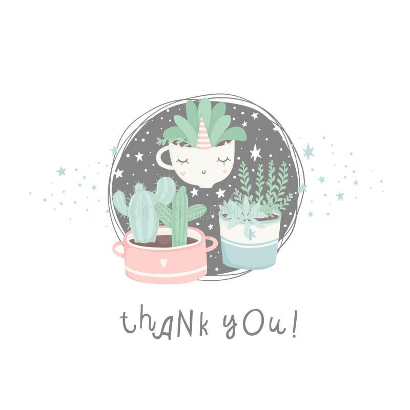 Postales lindas de la historieta con los succulents y los cactus ilustración del vector