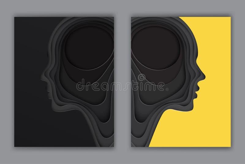 Postales modernas con perfil cortado acodado del ser humano del papel coloreado ilustración del vector