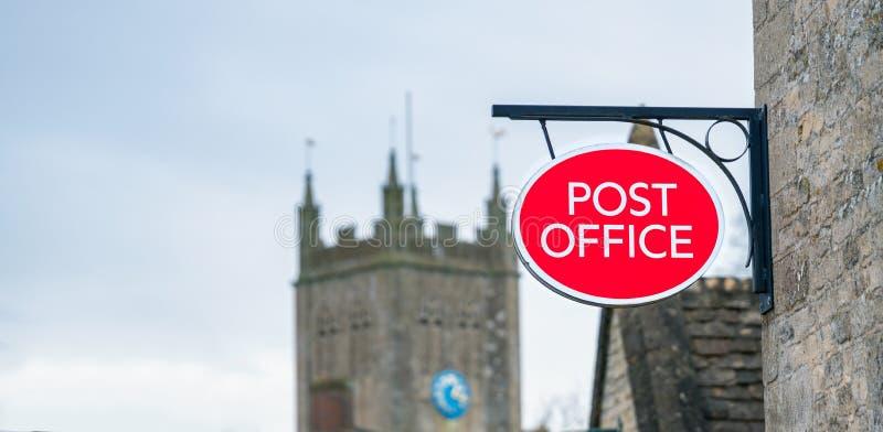 Postamt - Schild an der Landstraße lizenzfreies stockfoto