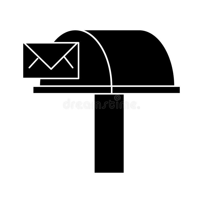 Postbox, email doręczeniowa ikona, wektorowa ilustracja, znak na odosobnionym tle royalty ilustracja