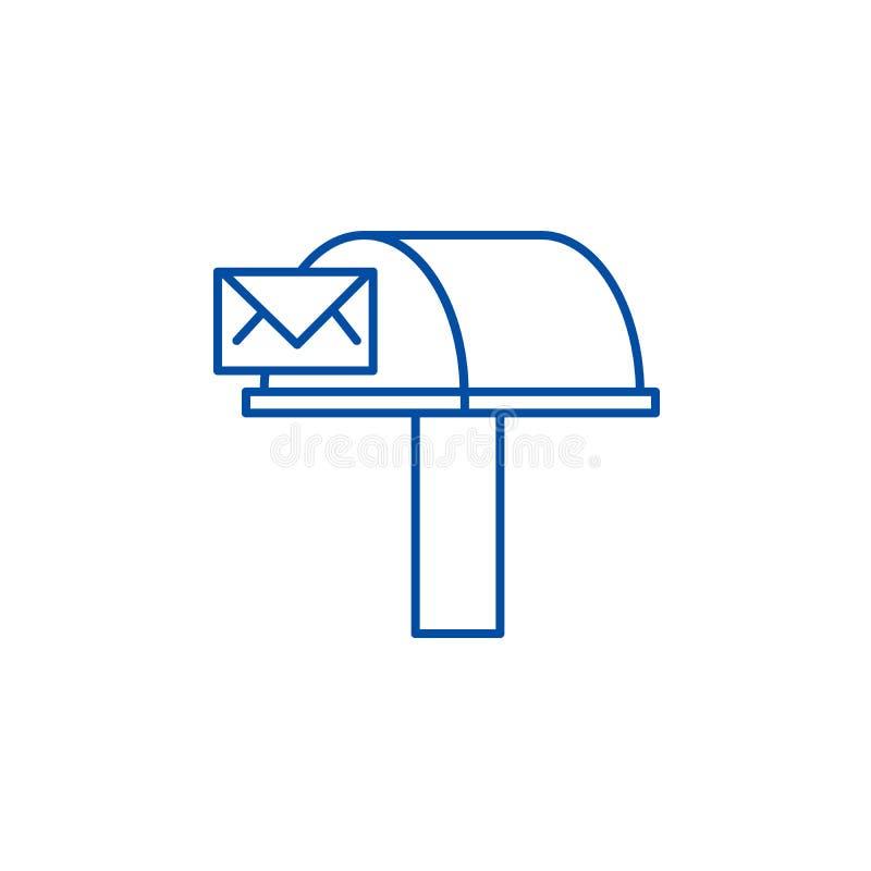 Postbox, het pictogramconcept van de e-mailleveringslijn Postbox, e-mailleverings vlak vectorsymbool, teken, overzichtsillustrati royalty-vrije illustratie