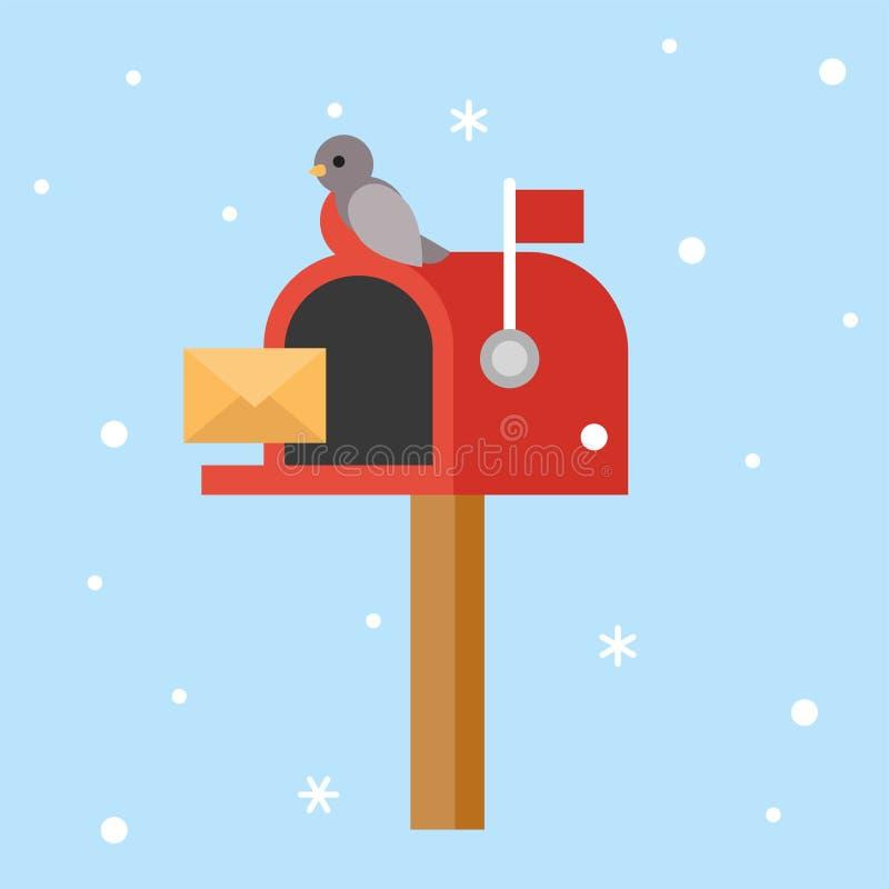 Postbox i ptak dla boże narodzenie tematu plakatowego płaskiego projekta royalty ilustracja