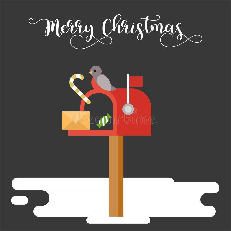 Postbox i ptak dla boże narodzenie zimy tematu plakatowego mieszkania projektujemy ilustracja wektor