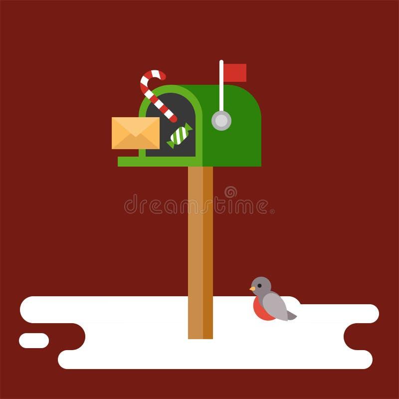 Postbox i ptak dla boże narodzenie zimy tematu plakatowego mieszkania projektujemy royalty ilustracja