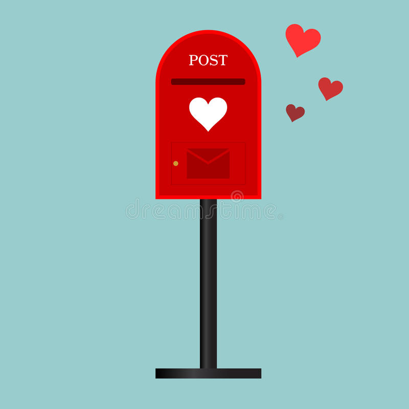 Postbox med förälskelsebakgrund royaltyfri illustrationer