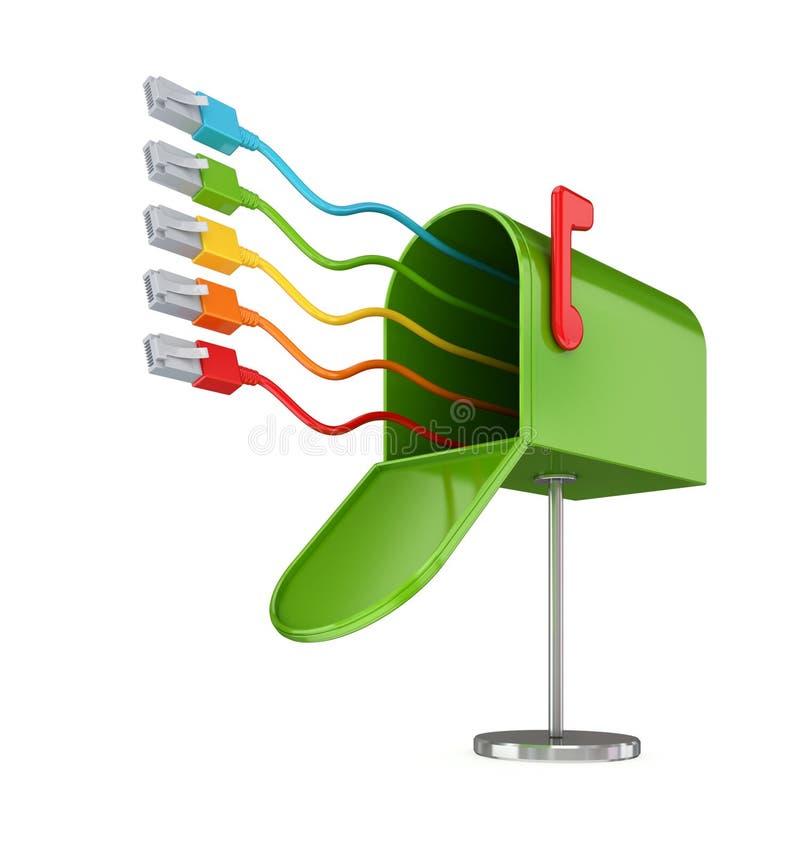 Postbox verde aberto e patchcords coloridos. ilustração stock