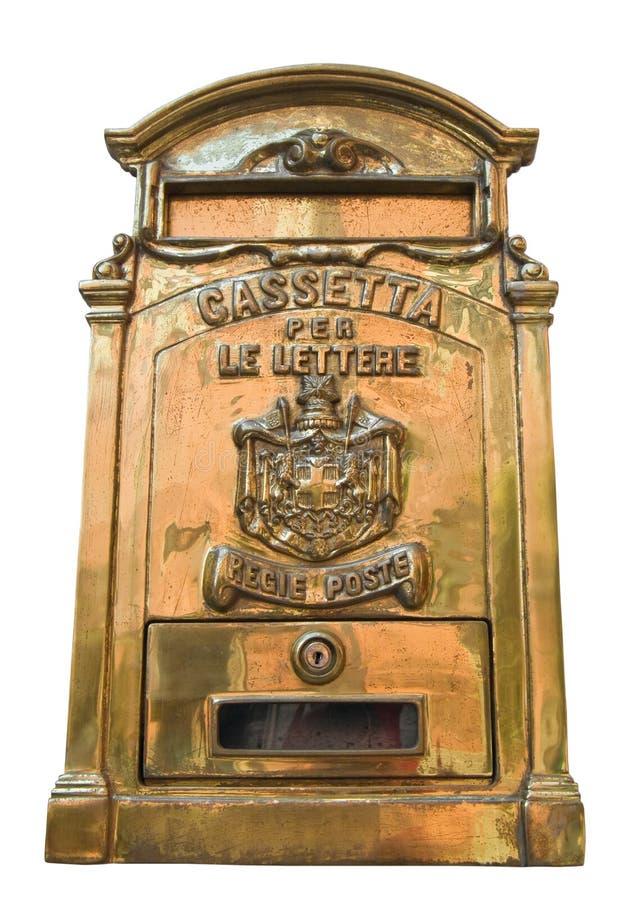 postbox złoty odosobniony biel zdjęcie stock