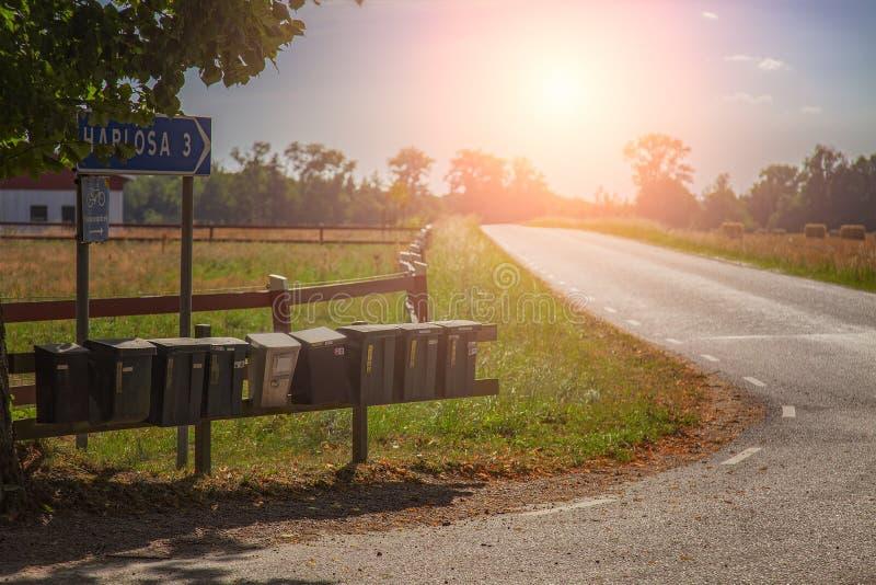 Postboxes in het platteland stock fotografie