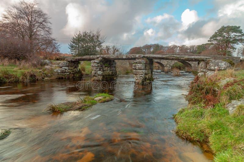 Postbridge拍板桥梁,dartmoor国立公园 库存照片