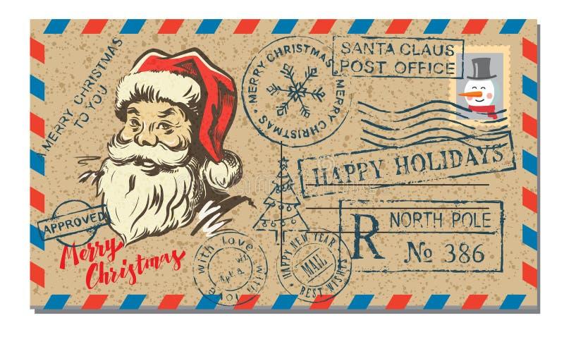 Postbrief met rubberzegel royalty-vrije illustratie