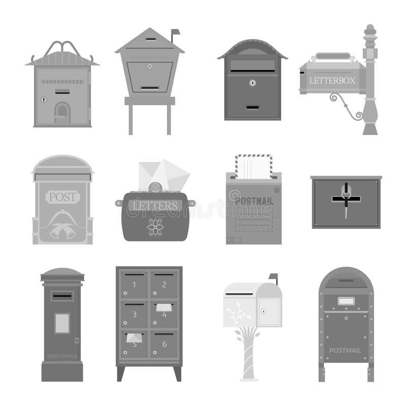 Postbrievenbus vectorreeks stock illustratie
