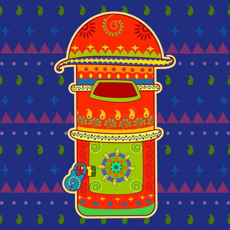 Postbus in Indische kunststijl stock illustratie