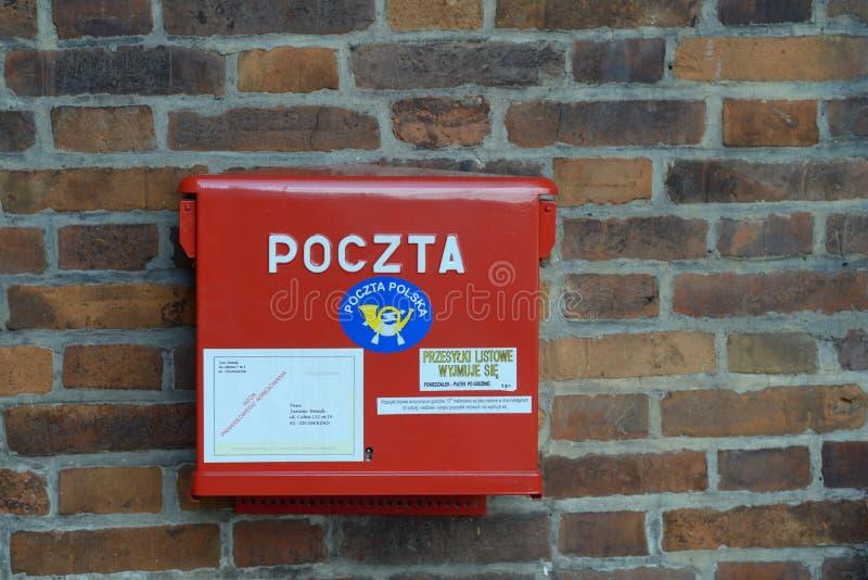 Postbus in Krakau, Polen royalty-vrije stock foto's